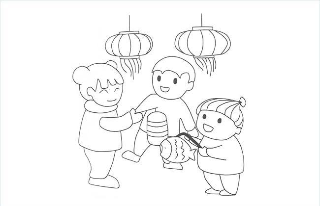 三个小朋友一起玩灯笼的简笔画图片