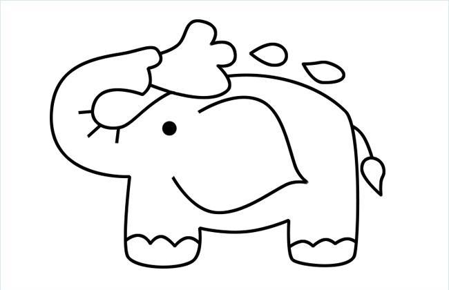 用鼻子吸水洗澡的小象简笔画图片