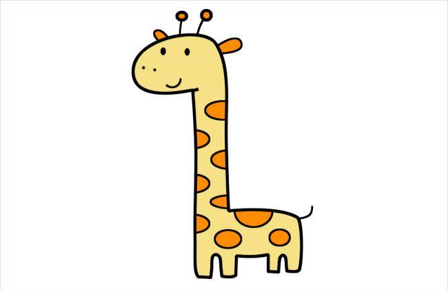 长颈鹿简笔画图片上色教程
