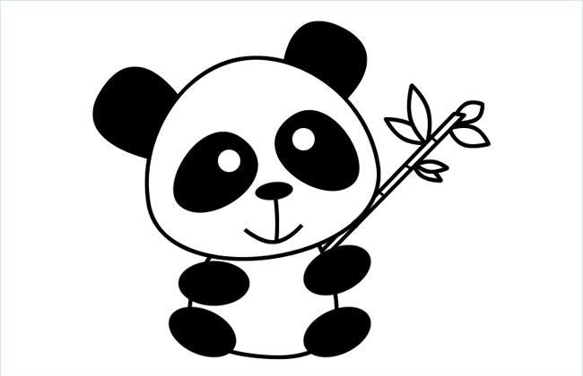 抱着竹子的可爱大熊猫简笔画图片