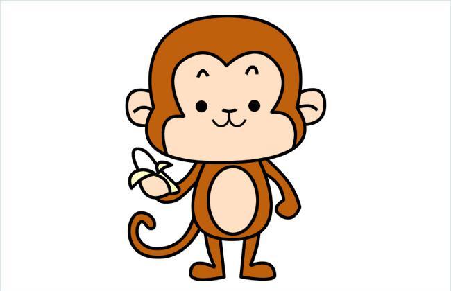拿着香蕉的小猴子简笔画图片