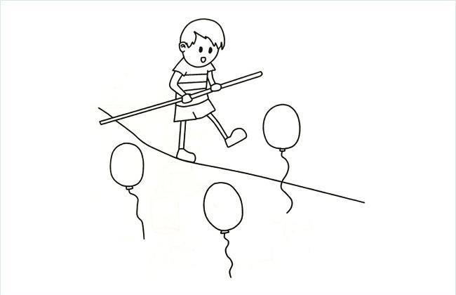特技演员在练习走钢丝的简笔画图片