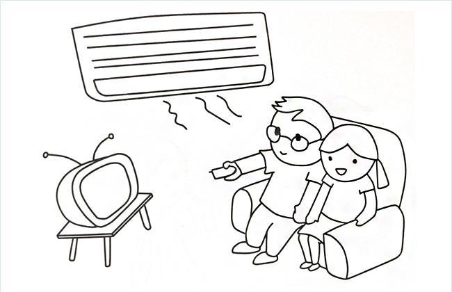夏天小朋友们吹空调看电视的简笔画图片