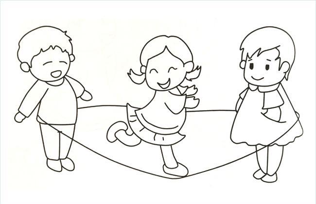 3个小孩在玩跳绳游戏的简笔画图片