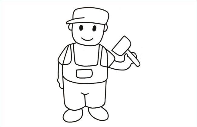 拿着铲子的工人叔叔简笔画图片