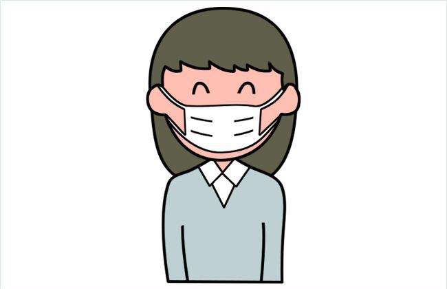 预防新型冠状病毒:戴口罩的小女孩简笔画图片
