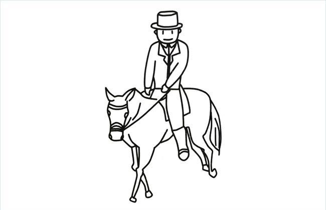 绅士骑马的简笔画图片